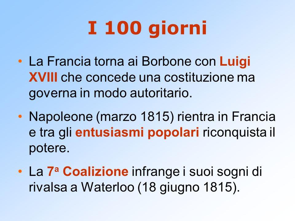 I 100 giorni La Francia torna ai Borbone con Luigi XVIII che concede una costituzione ma governa in modo autoritario. Napoleone (marzo 1815) rientra i