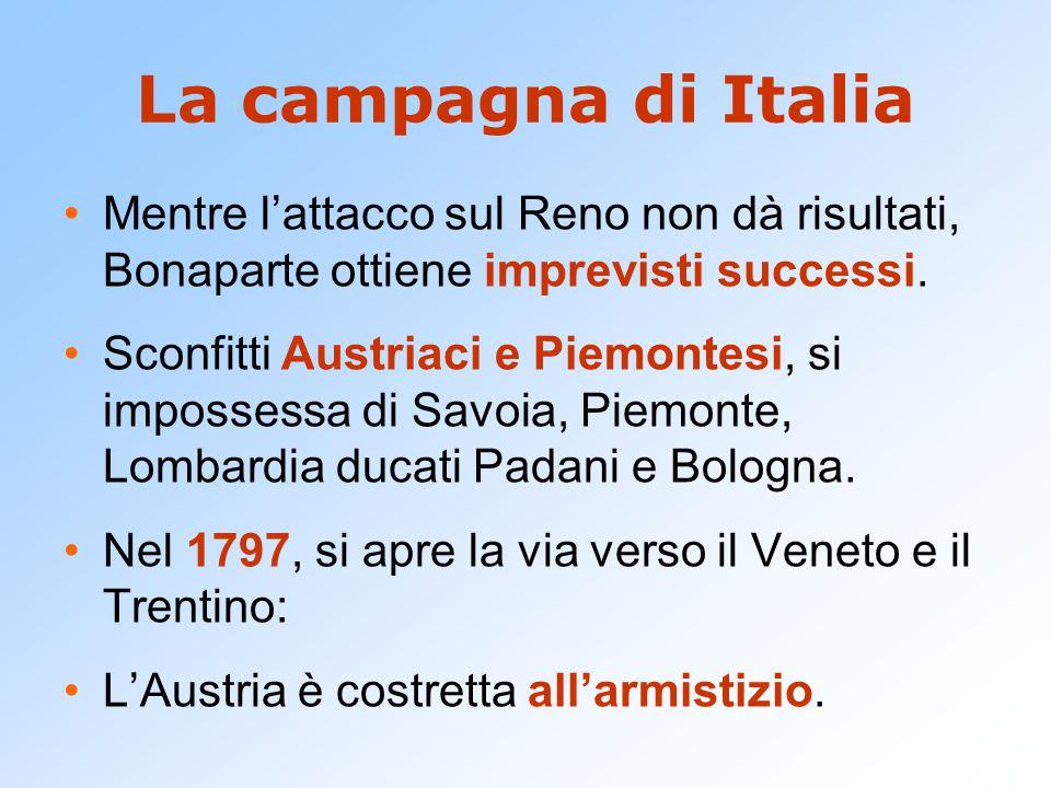 La campagna di Italia Mentre l'attacco sul Reno non dà risultati, Bonaparte ottiene imprevisti successi. Sconfitti Austriaci e Piemontesi, si imposses