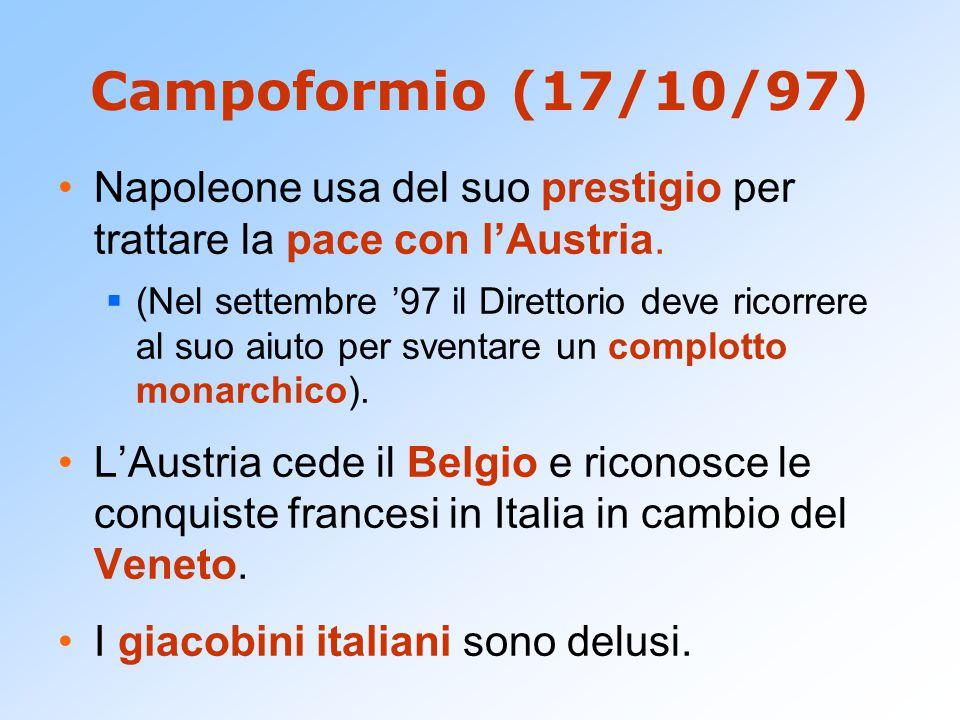 Campoformio (17/10/97) Napoleone usa del suo prestigio per trattare la pace con l'Austria.  (Nel settembre '97 il Direttorio deve ricorrere al suo ai