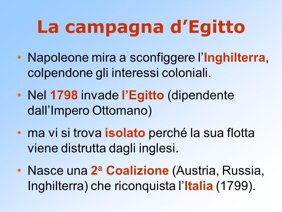 La campagna d'Egitto Napoleone mira a sconfiggere l'Inghilterra, colpendone gli interessi coloniali. Nel 1798 invade l'Egitto (dipendente dall'Impero