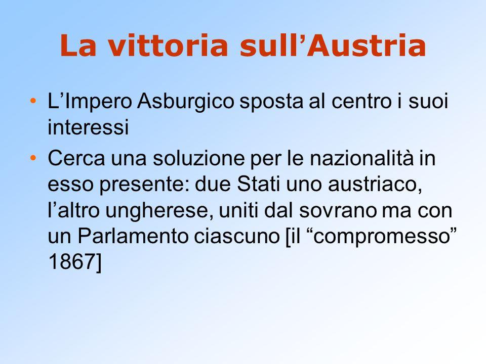 La vittoria sull ' Austria L'Impero Asburgico sposta al centro i suoi interessi Cerca una soluzione per le nazionalità in esso presente: due Stati uno