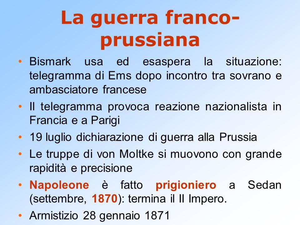 La guerra franco- prussiana Bismark usa ed esaspera la situazione: telegramma di Ems dopo incontro tra sovrano e ambasciatore francese Il telegramma p