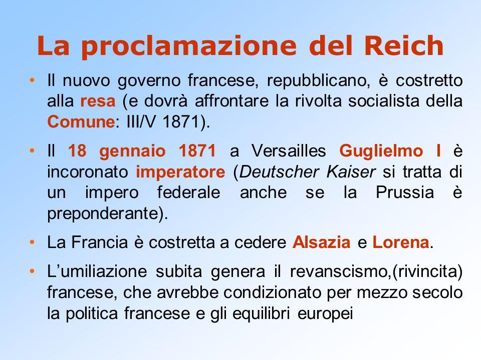 La proclamazione del Reich Il nuovo governo francese, repubblicano, è costretto alla resa (e dovrà affrontare la rivolta socialista della Comune: III/