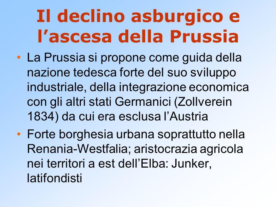 Il declino asburgico e l'ascesa della Prussia La Prussia si propone come guida della nazione tedesca forte del suo sviluppo industriale, della integra
