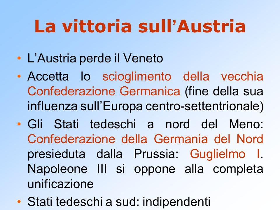 La vittoria sull ' Austria L'Austria perde il Veneto Accetta lo scioglimento della vecchia Confederazione Germanica (fine della sua influenza sull'Eur
