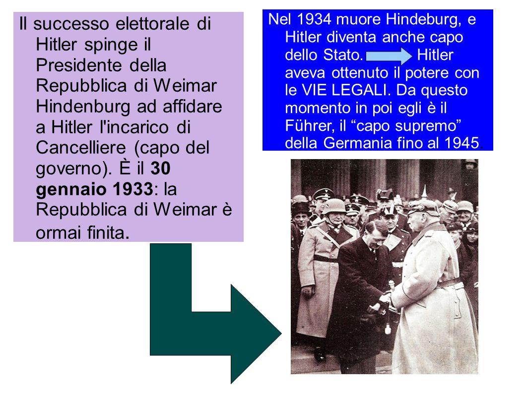 Il successo elettorale di Hitler spinge il Presidente della Repubblica di Weimar Hindenburg ad affidare a Hitler l'incarico di Cancelliere (capo del g