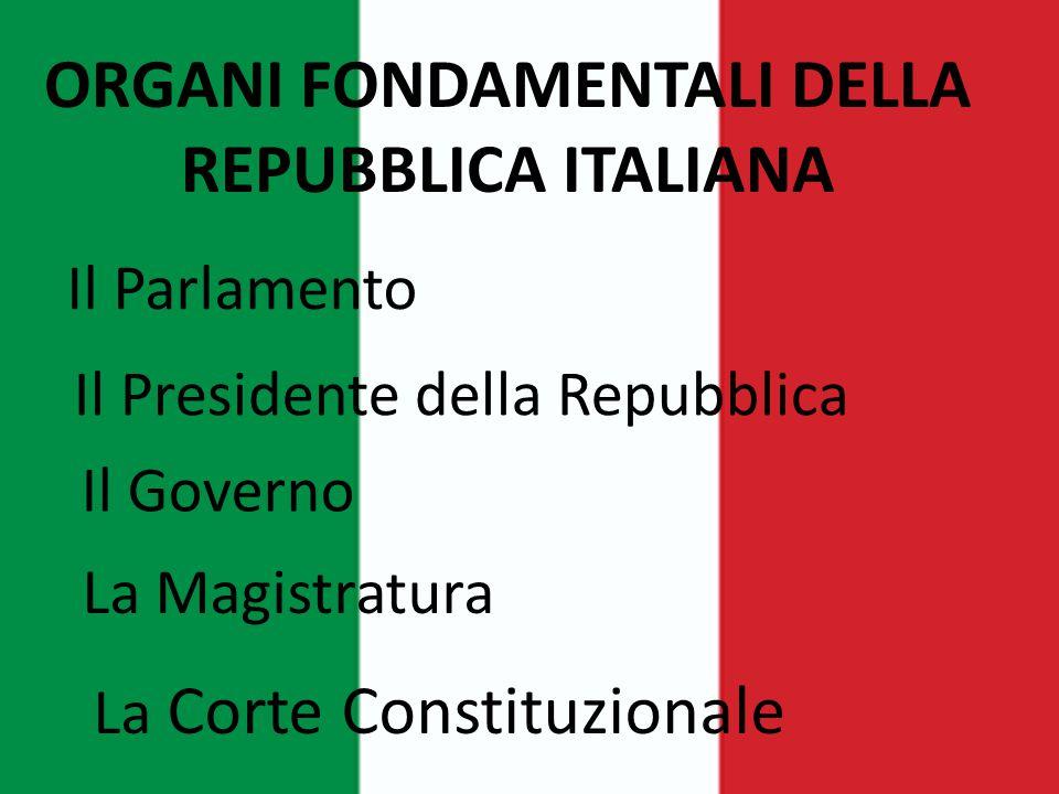 ORGANI FONDAMENTALI DELLA REPUBBLICA ITALIANA Il Parlamento Il Presidente della Repubblica Il Governo La Magistratura La Corte Constituzionale