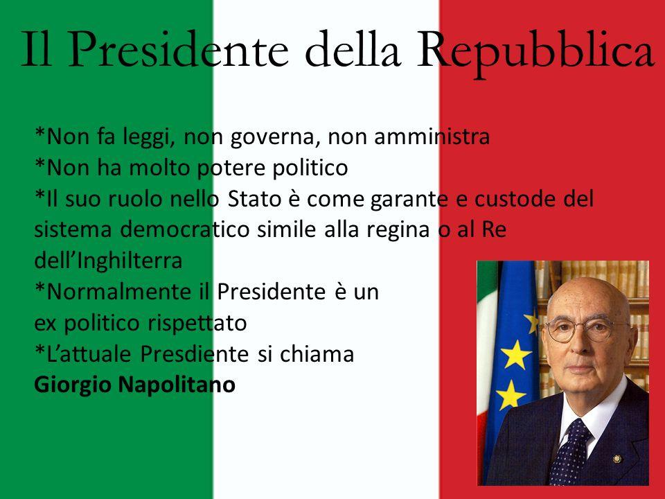 Il Presidente della Repubblica *Non fa leggi, non governa, non amministra *Non ha molto potere politico *Il suo ruolo nello Stato è come garante e cus