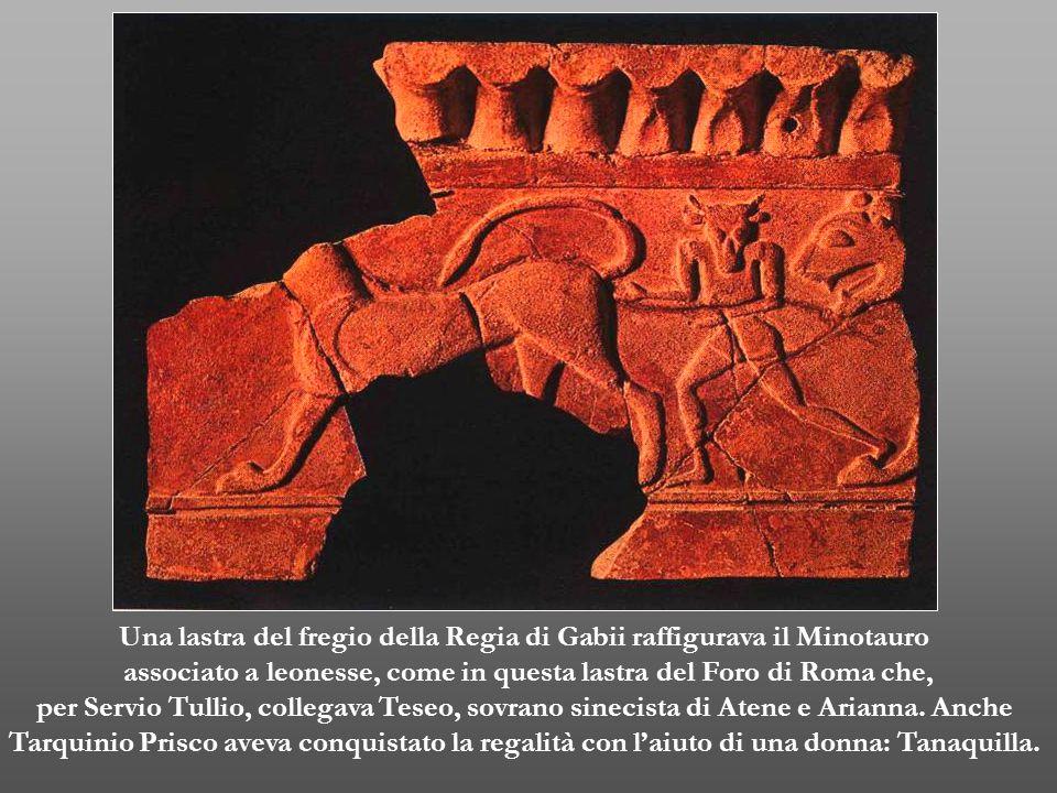 Una lastra del fregio della Regia di Gabii raffigurava il Minotauro associato a leonesse, come in questa lastra del Foro di Roma che, per Servio Tulli