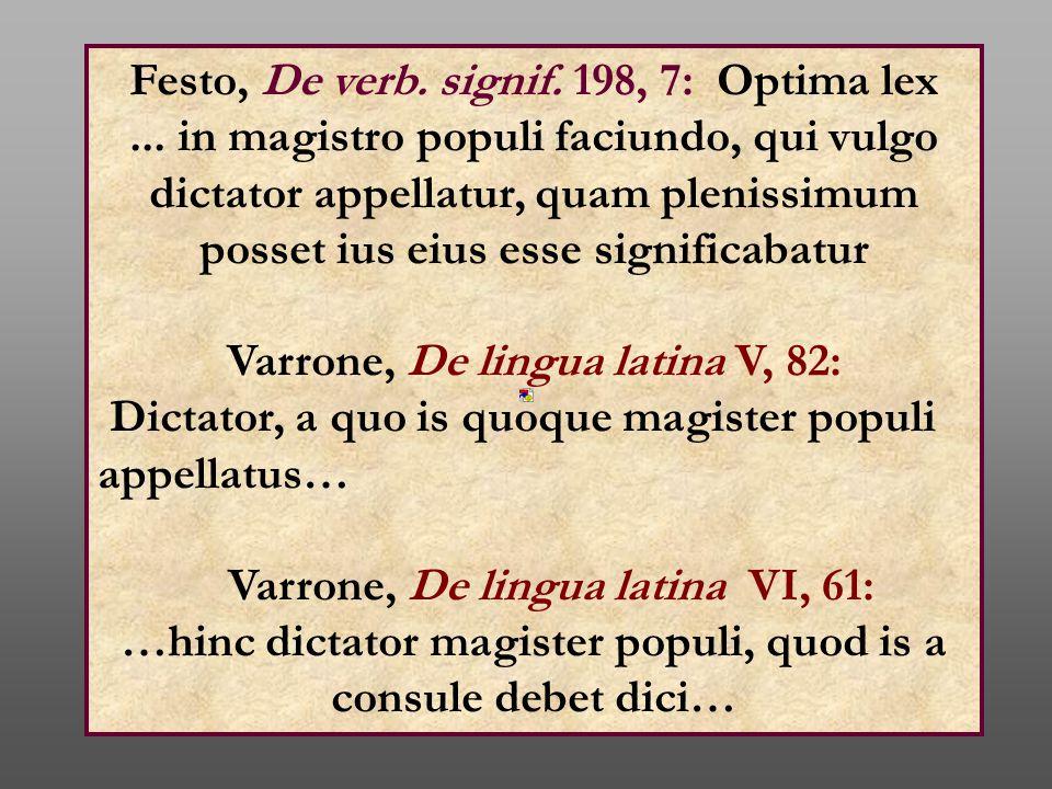 Festo, De verb. signif. 198, 7: Optima lex... in magistro populi faciundo, qui vulgo dictator appellatur, quam plenissimum posset ius eius esse signif