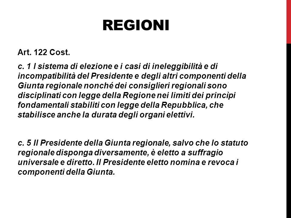 REGIONI Art.122 Cost. c.