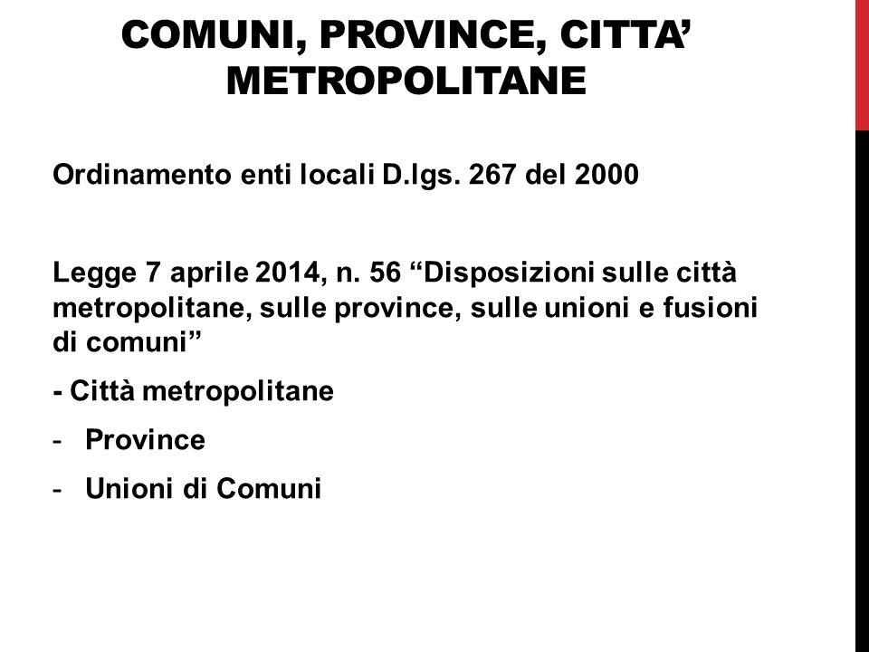 COMUNI, PROVINCE, CITTA' METROPOLITANE Ordinamento enti locali D.lgs.