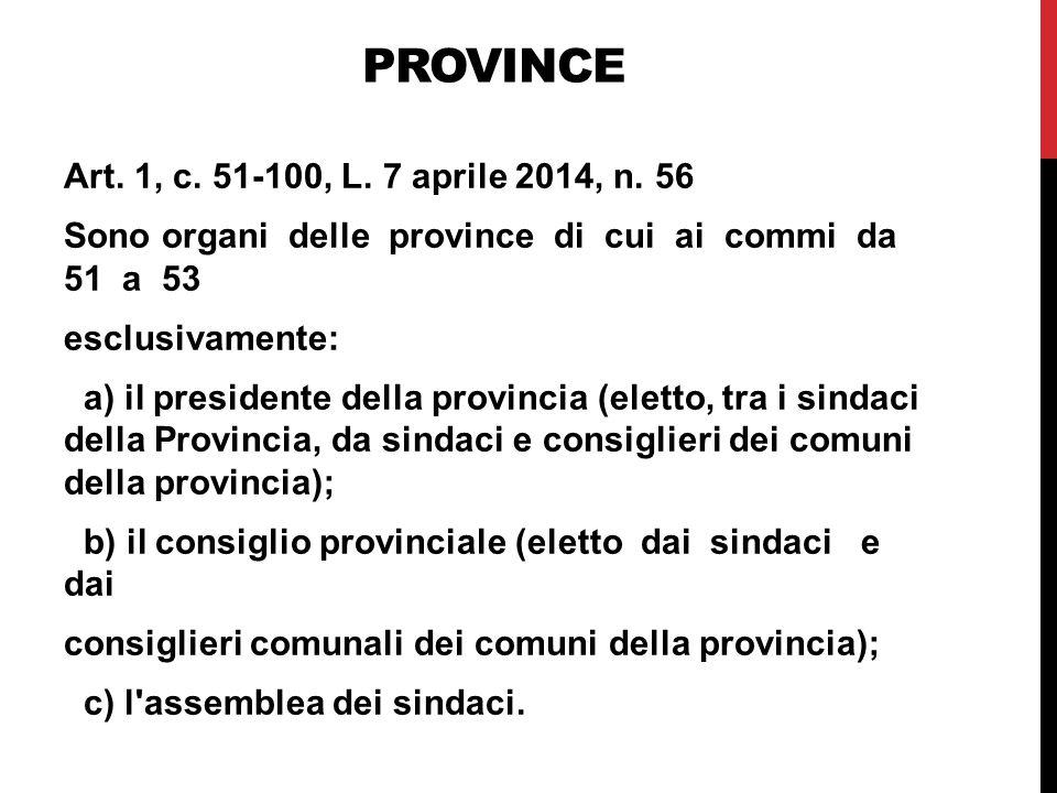 PROVINCE Art.1, c. 51-100, L. 7 aprile 2014, n.