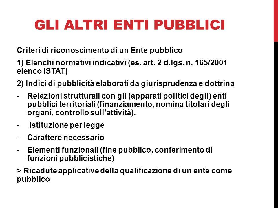 GLI ALTRI ENTI PUBBLICI Criteri di riconoscimento di un Ente pubblico 1) Elenchi normativi indicativi (es.