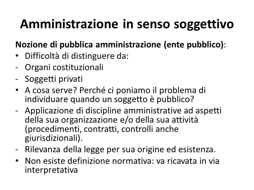 Amministrazione in senso soggettivo Nozione di pubblica amministrazione (ente pubblico): Difficoltà di distinguere da: -Organi costituzionali -Soggetti privati A cosa serve.