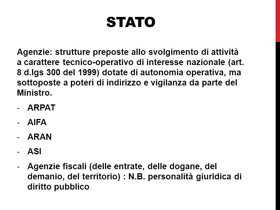 STATO Agenzie: strutture preposte allo svolgimento di attività a carattere tecnico-operativo di interesse nazionale (art.
