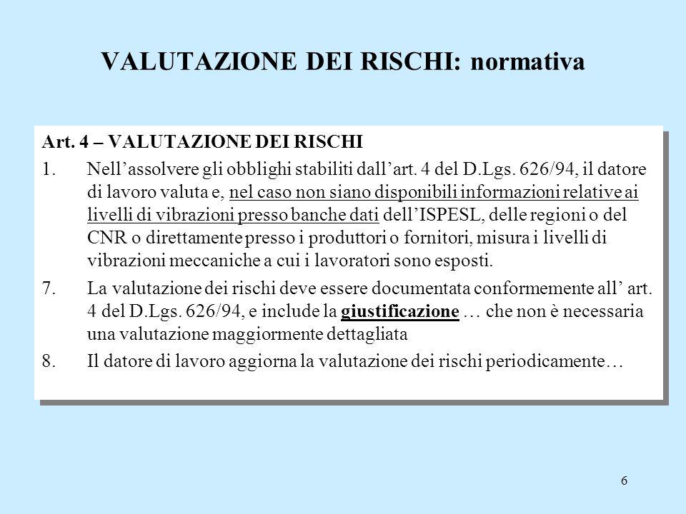 6 VALUTAZIONE DEI RISCHI: normativa Art. 4 – VALUTAZIONE DEI RISCHI 1.Nell'assolvere gli obblighi stabiliti dall'art. 4 del D.Lgs. 626/94, il datore d