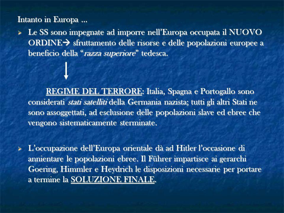 Intanto in Europa …  Le SS sono impegnate ad imporre nell'Europa occupata il NUOVO ORDINE  sfruttamento delle risorse e delle popolazioni europee a