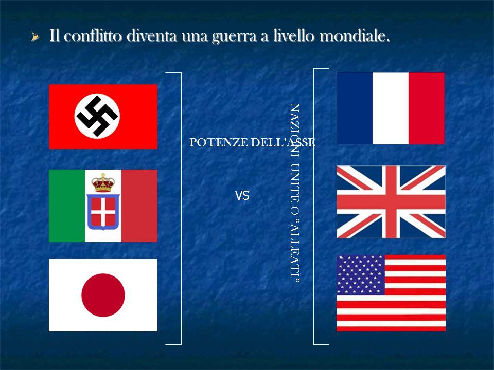 """ Il conflitto diventa una guerra a livello mondiale. POTENZE DELL'ASSE VS NAZIONI UNITE O """"ALLEATI"""""""