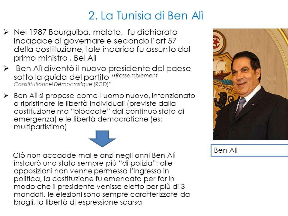 2. La Tunisia di Ben Alì  Nel 1987 Bourguiba, malato, fu dichiarato incapace di governare e secondo l'art 57 della costituzione, tale incarico fu ass