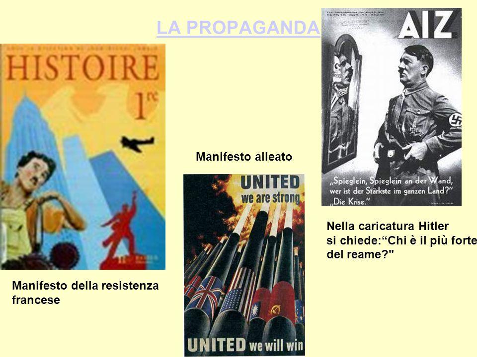 LA PROPAGANDA Nella caricatura Hitler si chiede: Chi è il più forte del reame? Manifesto della resistenza francese Manifesto alleato