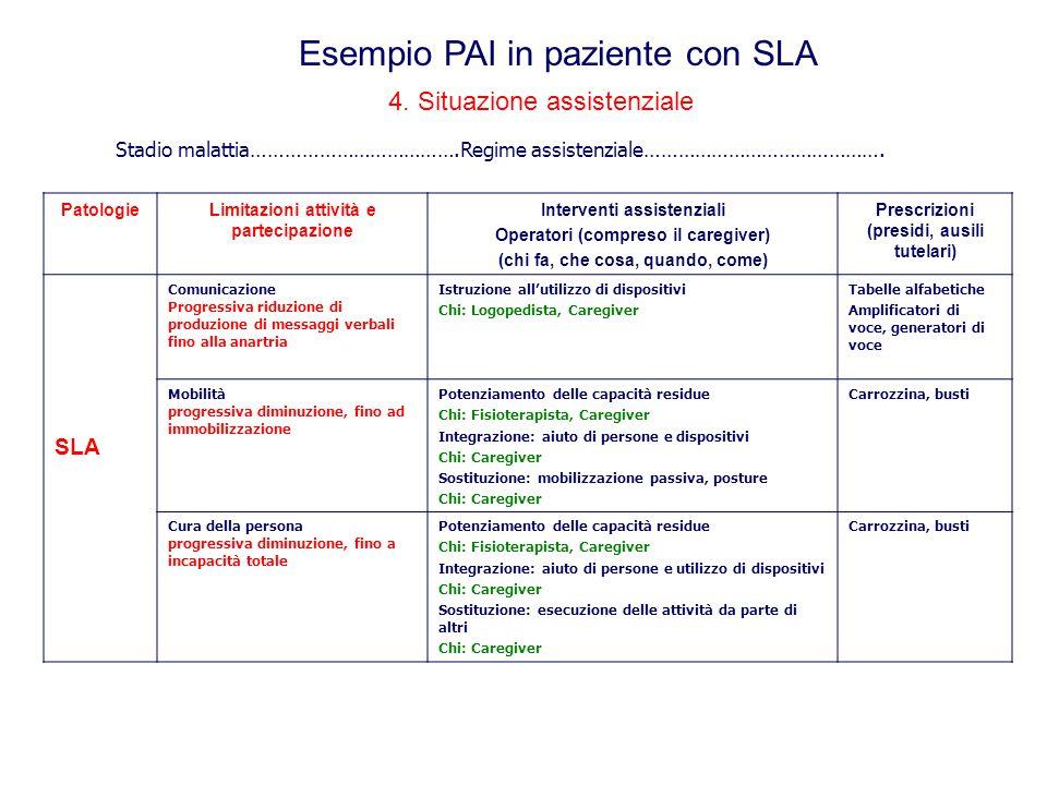 4. Situazione assistenziale PatologieLimitazioni attività e partecipazione Interventi assistenziali Operatori (compreso il caregiver) (chi fa, che cos