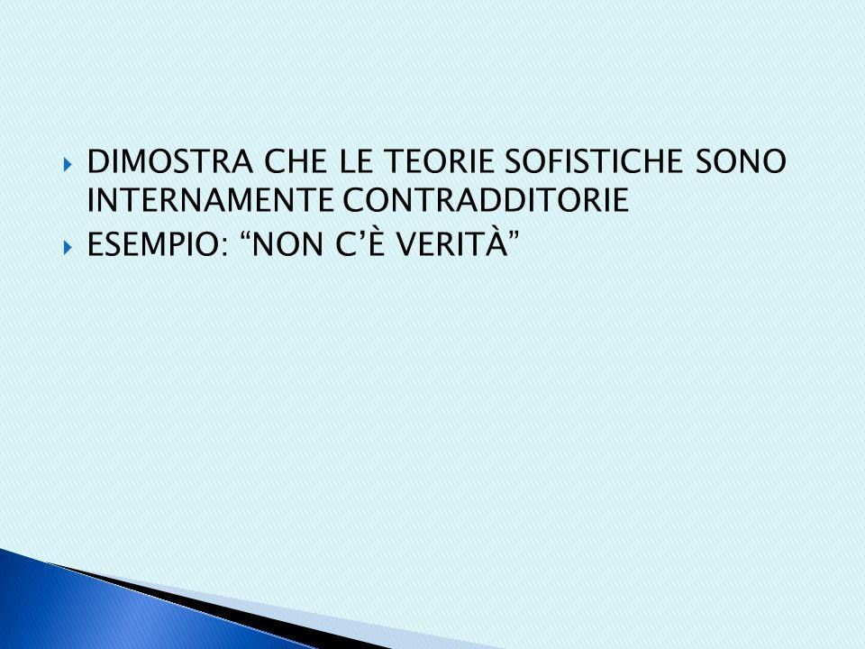  DIMOSTRA CHE LE TEORIE SOFISTICHE SONO INTERNAMENTE CONTRADDITORIE  ESEMPIO: NON C'È VERITÀ