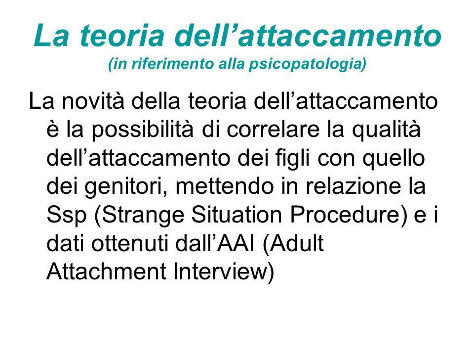 La teoria dell'attaccamento (in riferimento alla psicopatologia) La novità della teoria dell'attaccamento è la possibilità di correlare la qualità del