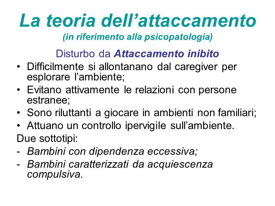 La teoria dell'attaccamento (in riferimento alla psicopatologia) Disturbo da Attaccamento inibito Difficilmente si allontanano dal caregiver per esplo