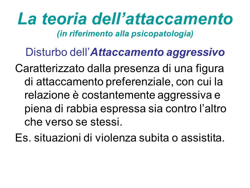 La teoria dell'attaccamento (in riferimento alla psicopatologia) Disturbo dell'Attaccamento aggressivo Caratterizzato dalla presenza di una figura di