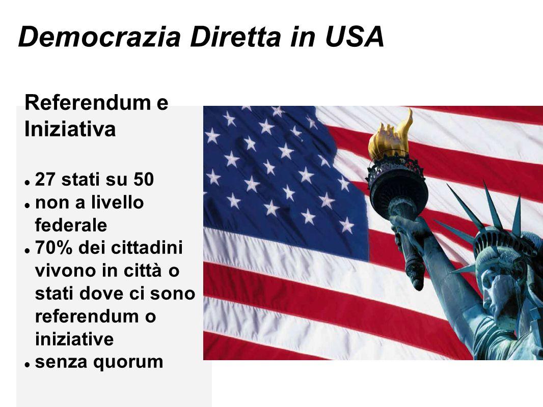 Democrazia Diretta in USA Referendum e Iniziativa 27 stati su 50 non a livello federale 70% dei cittadini vivono in città o stati dove ci sono referendum o iniziative senza quorum