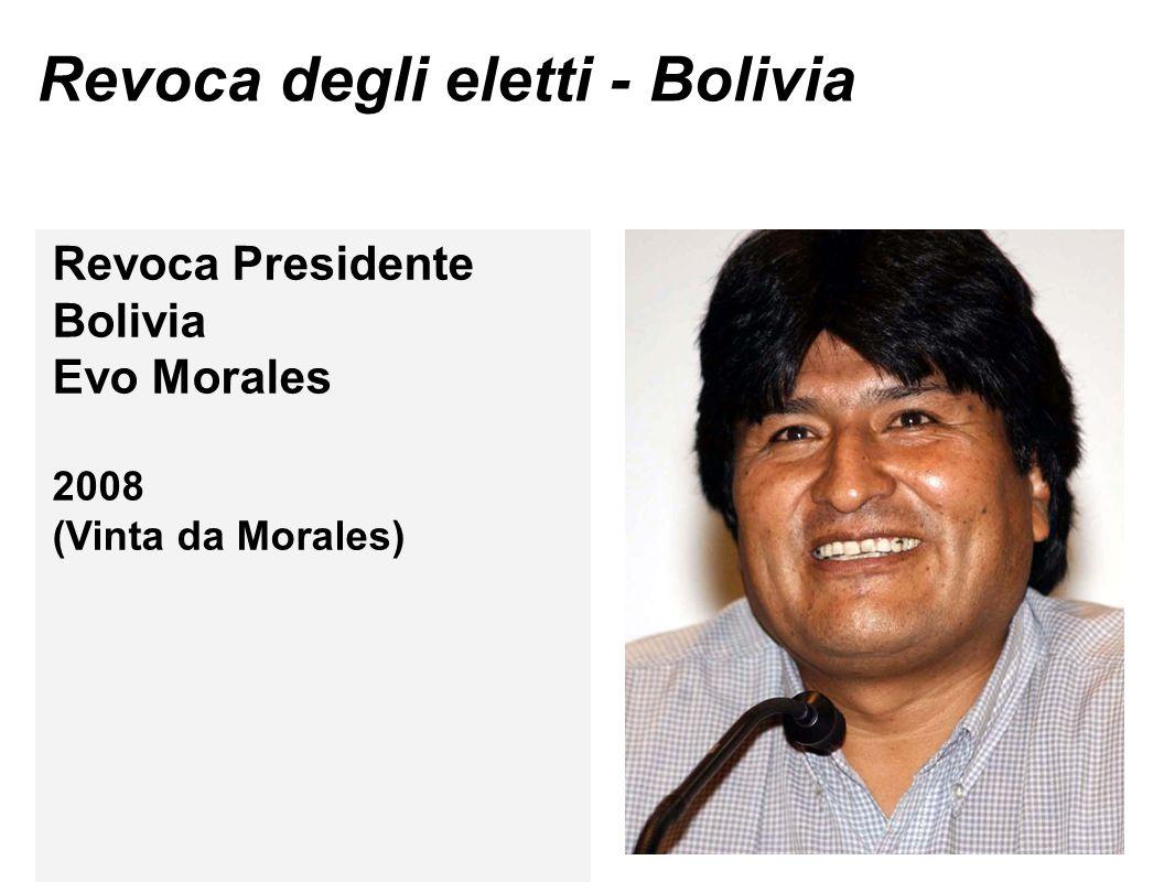 Revoca degli eletti - Bolivia Revoca Presidente Bolivia Evo Morales 2008 (Vinta da Morales)