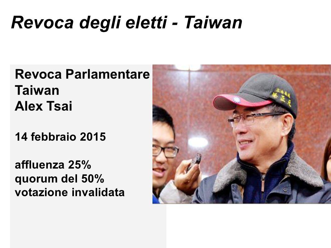 Revoca degli eletti - Taiwan Revoca Parlamentare Taiwan Alex Tsai 14 febbraio 2015 affluenza 25% quorum del 50% votazione invalidata
