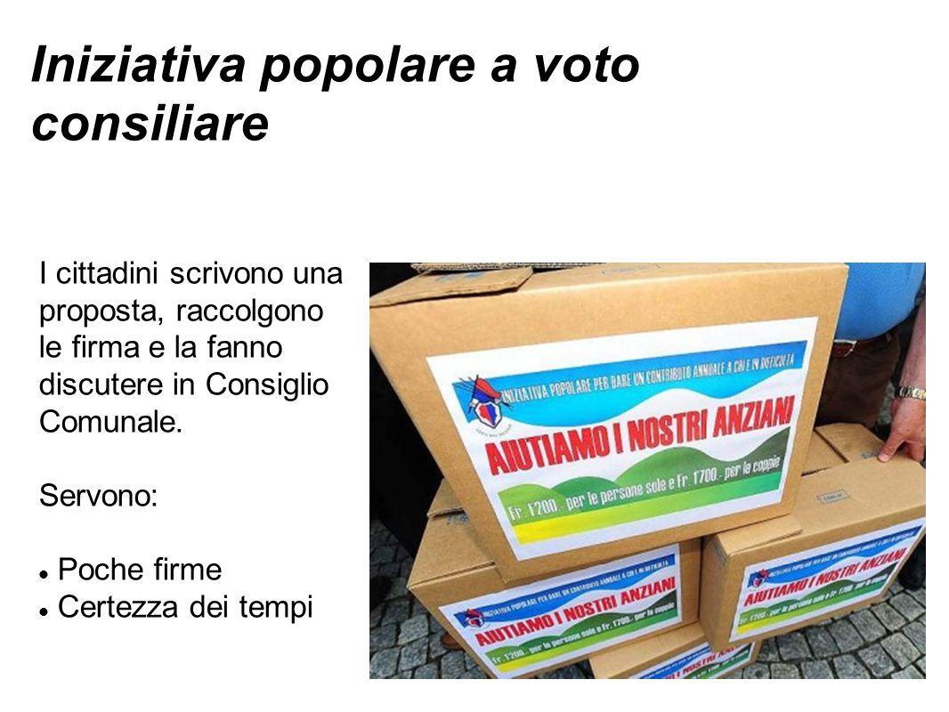 Iniziativa popolare a voto consiliare I cittadini scrivono una proposta, raccolgono le firma e la fanno discutere in Consiglio Comunale.