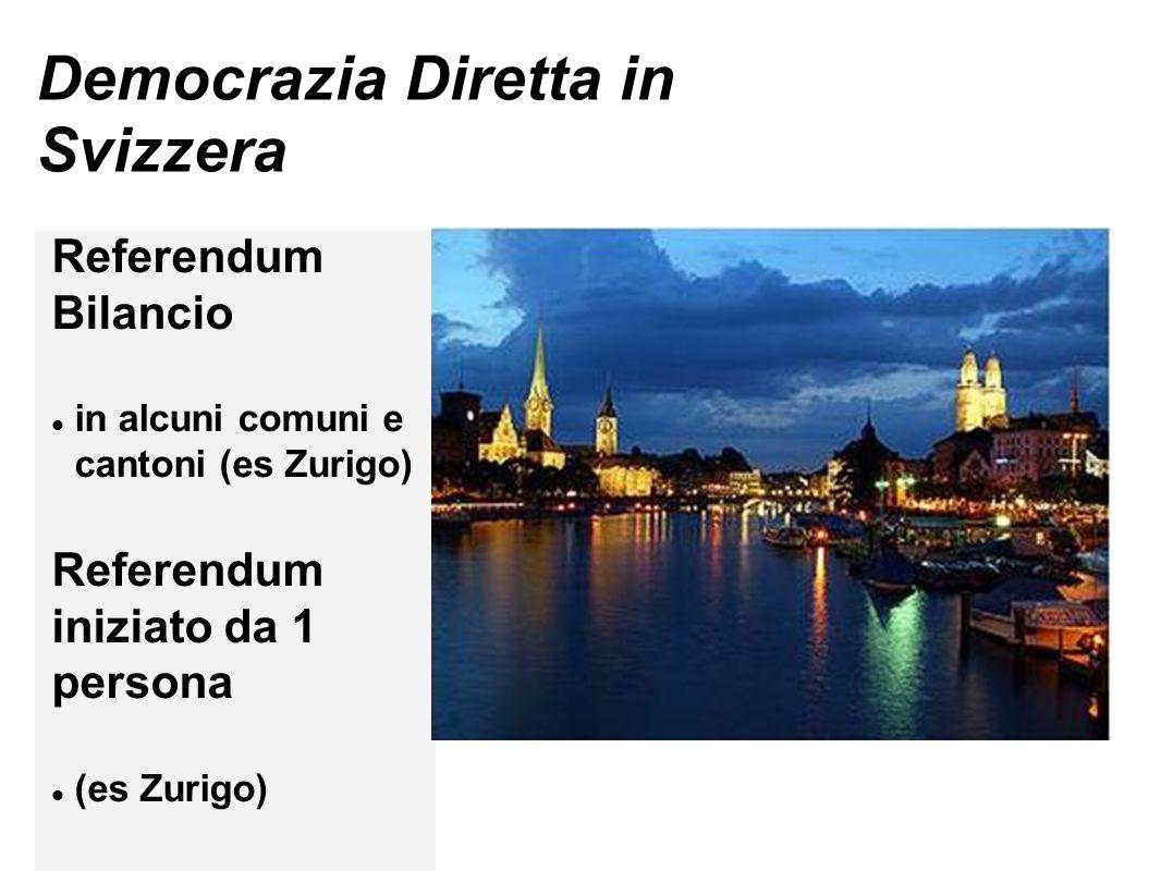Iniziativa popolare a voto popolare I cittadini pensano la proposta, raccolgono le firme, la proposta va in Consiglio Comunale.