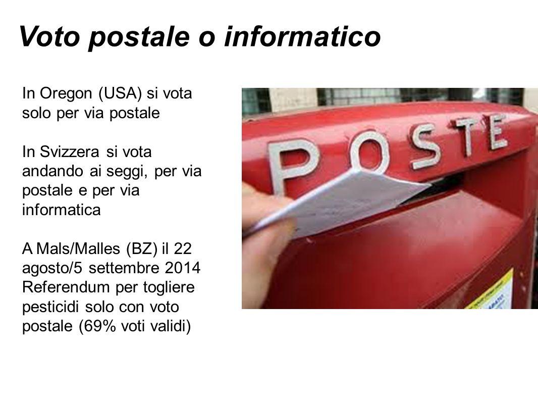 Voto postale o informatico In Oregon (USA) si vota solo per via postale In Svizzera si vota andando ai seggi, per via postale e per via informatica A Mals/Malles (BZ) il 22 agosto/5 settembre 2014 Referendum per togliere pesticidi solo con voto postale (69% voti validi)