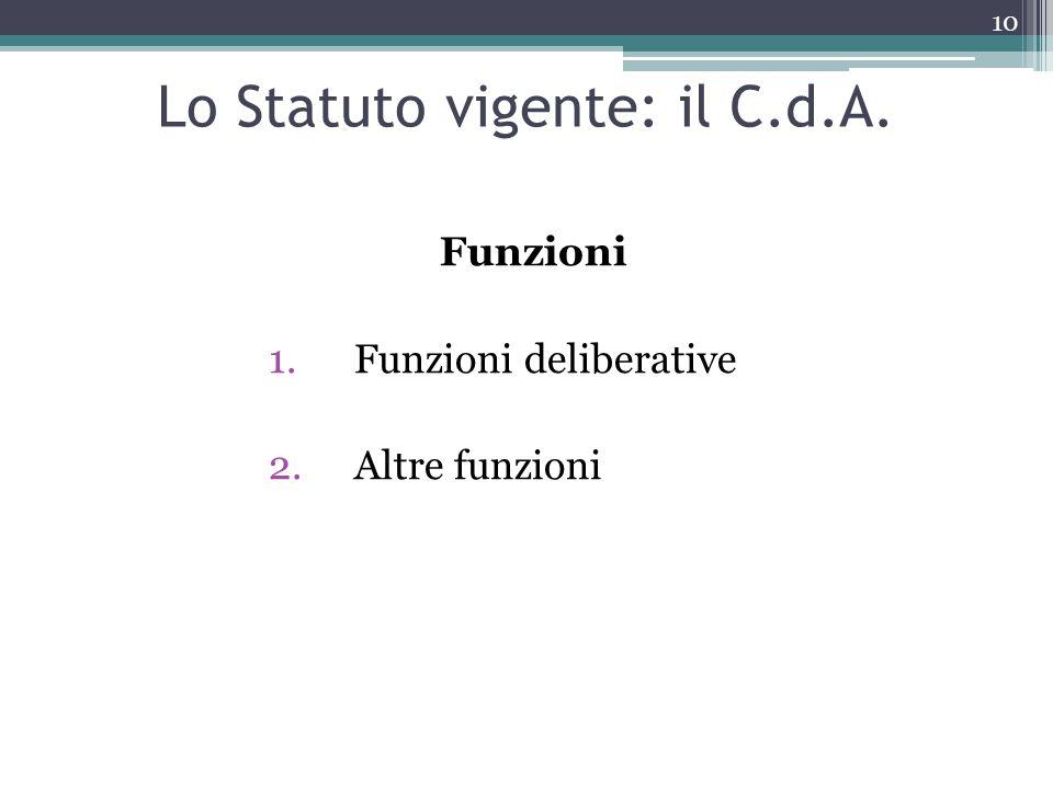 Funzioni 1.Funzioni deliberative 2.Altre funzioni Lo Statuto vigente: il C.d.A. 10