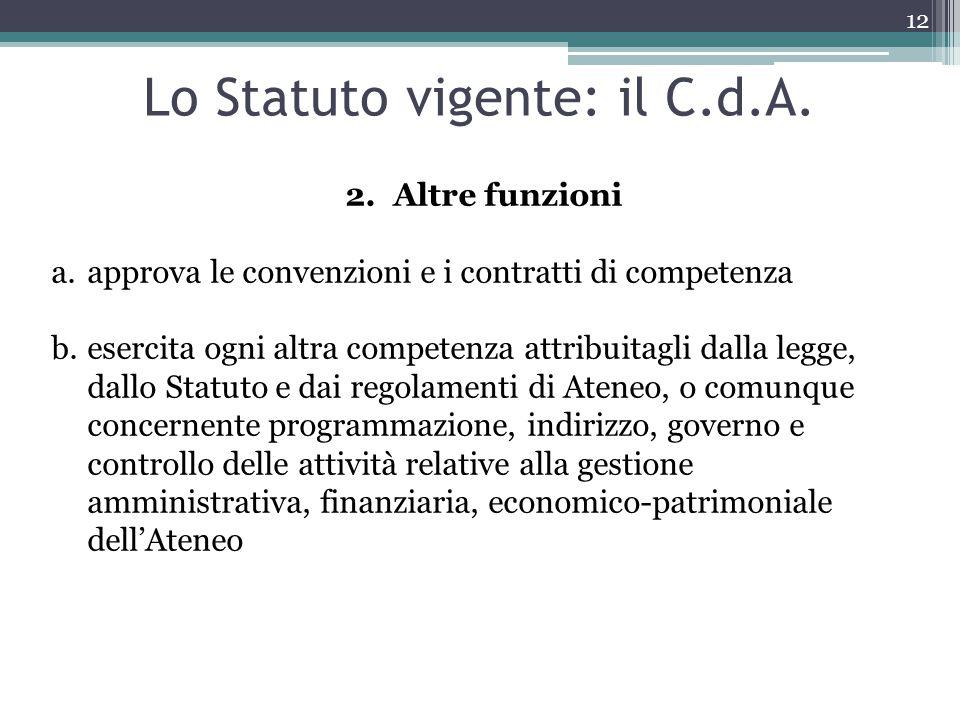 Lo Statuto vigente: il C.d.A.