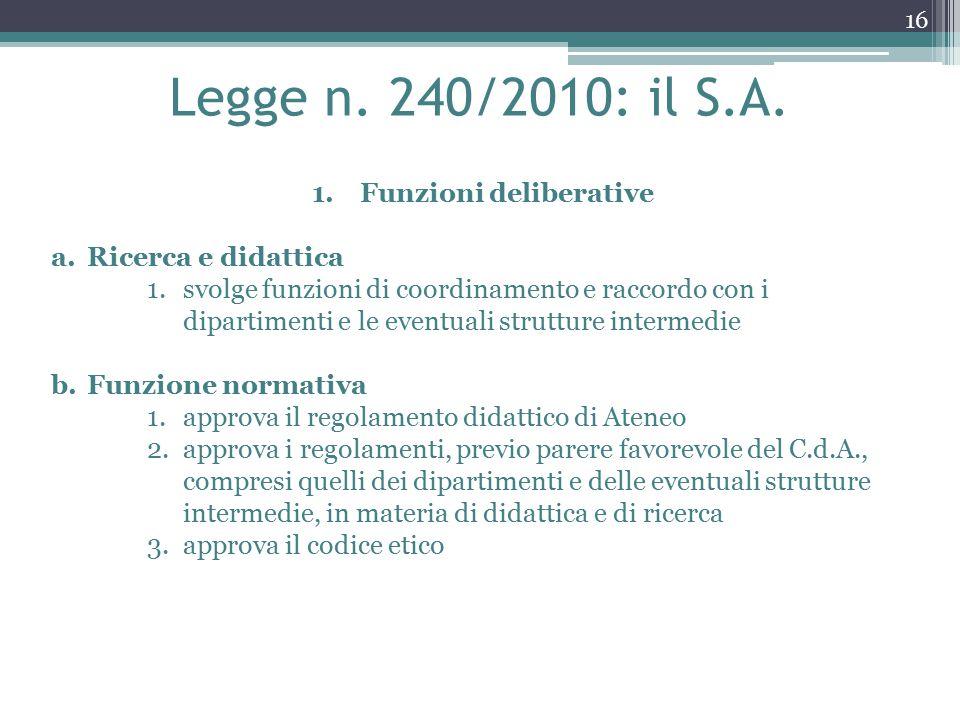 Legge n. 240/2010: il S.A.