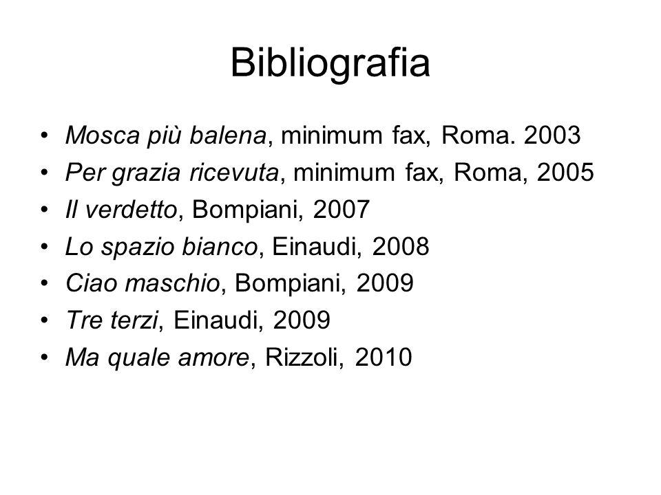 Bibliografia Mosca più balena, minimum fax, Roma. 2003 Per grazia ricevuta, minimum fax, Roma, 2005 Il verdetto, Bompiani, 2007 Lo spazio bianco, Eina