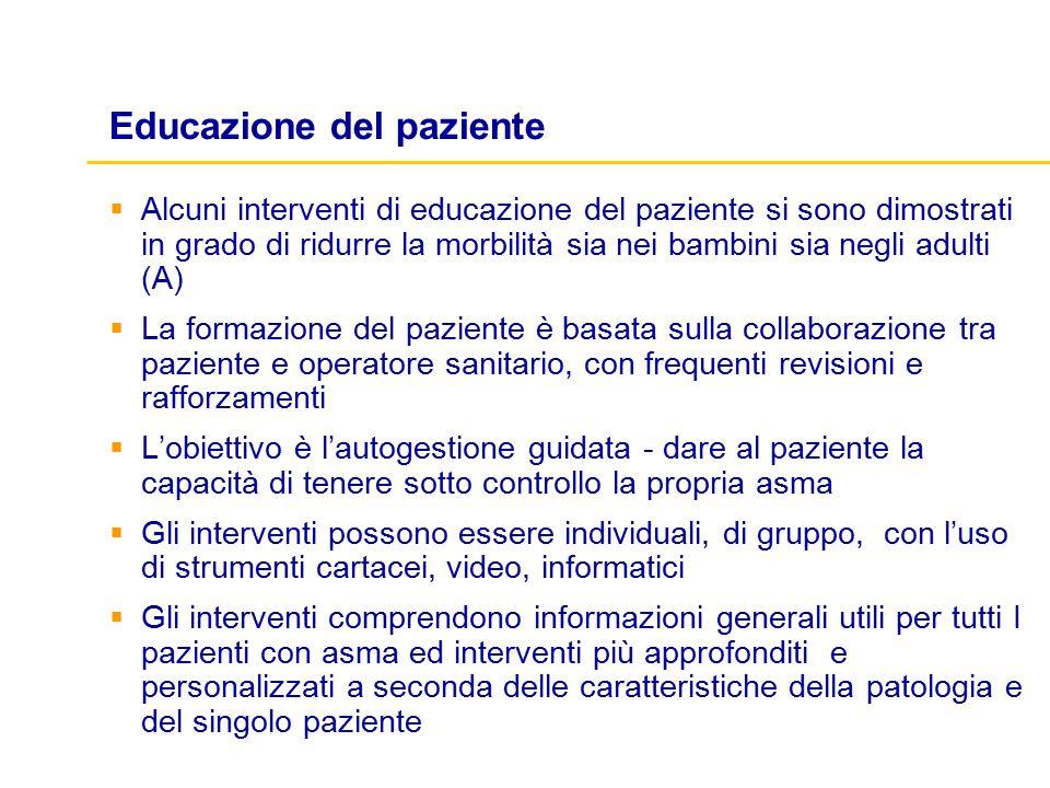 Educazione del paziente  Alcuni interventi di educazione del paziente si sono dimostrati in grado di ridurre la morbilità sia nei bambini sia negli a