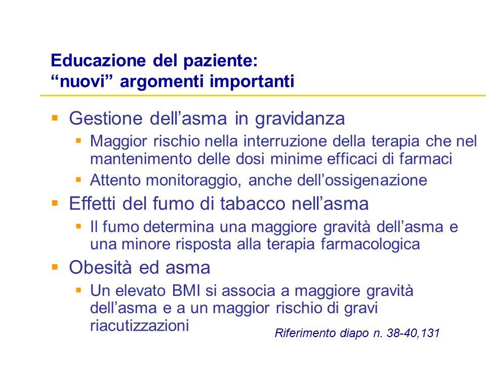 """Educazione del paziente: """"nuovi"""" argomenti importanti  Gestione dell'asma in gravidanza  Maggior rischio nella interruzione della terapia che nel ma"""