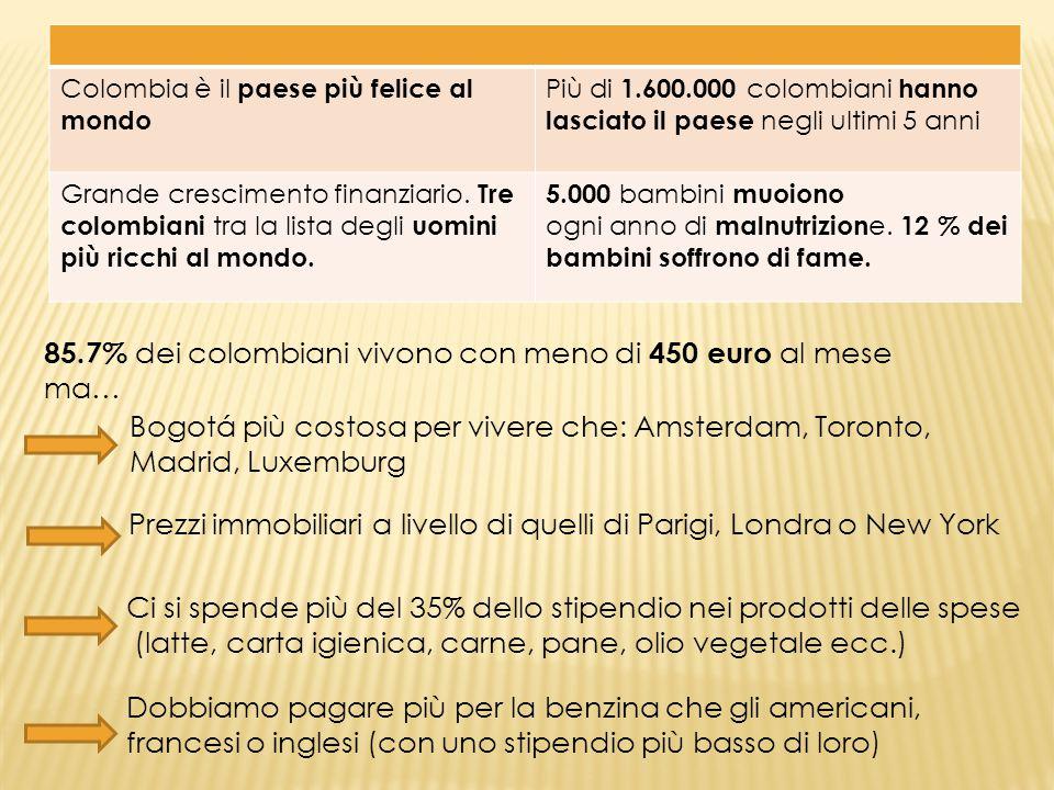 Colombia è il paese più felice al mondo Più di 1.600.000 colombiani hanno lasciato il paese negli ultimi 5 anni Grande crescimento finanziario. Tre co