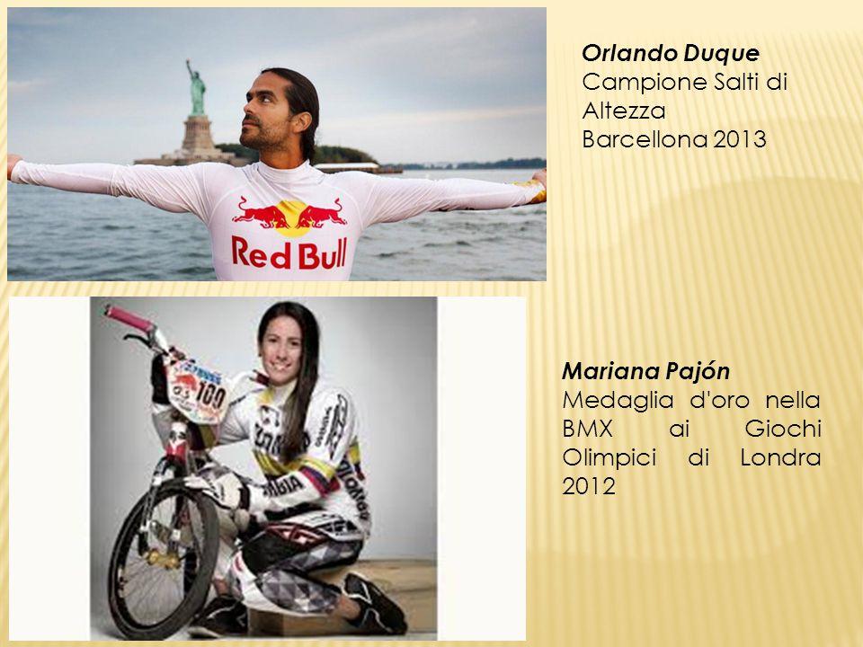 Orlando Duque Campione Salti di Altezza Barcellona 2013 Mariana Pajón Medaglia d'oro nella BMX ai Giochi Olimpici di Londra 2012