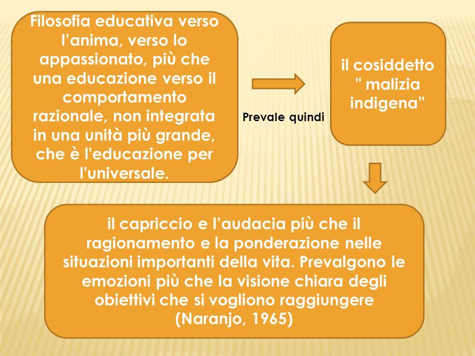 Filosofia educativa verso l'anima, verso lo appassionato, più che una educazione verso il comportamento razionale, non integrata in una unità più gran