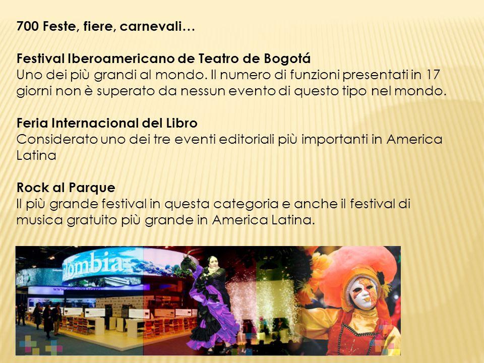 700 Feste, fiere, carnevali… Festival Iberoamericano de Teatro de Bogotá Uno dei più grandi al mondo. Il numero di funzioni presentati in 17 giorni no