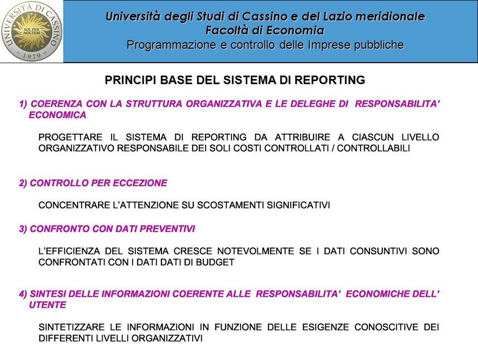 Università degli Studi di Cassino e del Lazio meridionale Facoltà di Economia Programmazione e controllo delle Imprese pubbliche PRINCIPI BASE DEL SISTEMA DI REPORTING