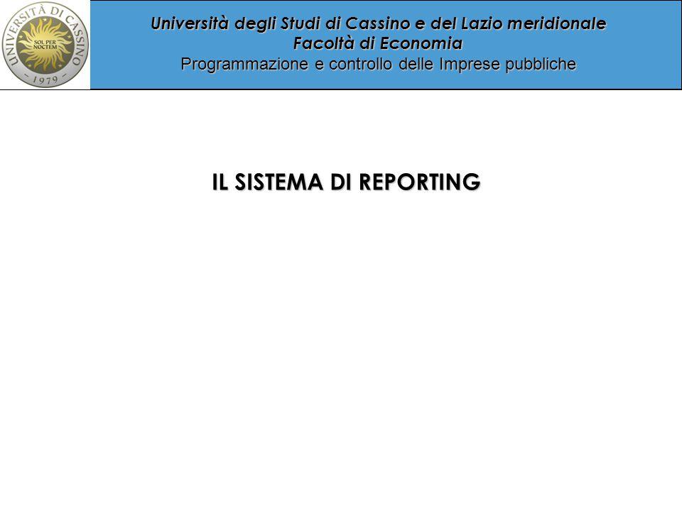 Università degli Studi di Cassino e del Lazio meridionale Facoltà di Economia Programmazione e controllo delle Imprese pubbliche IL SISTEMA DI REPORTING