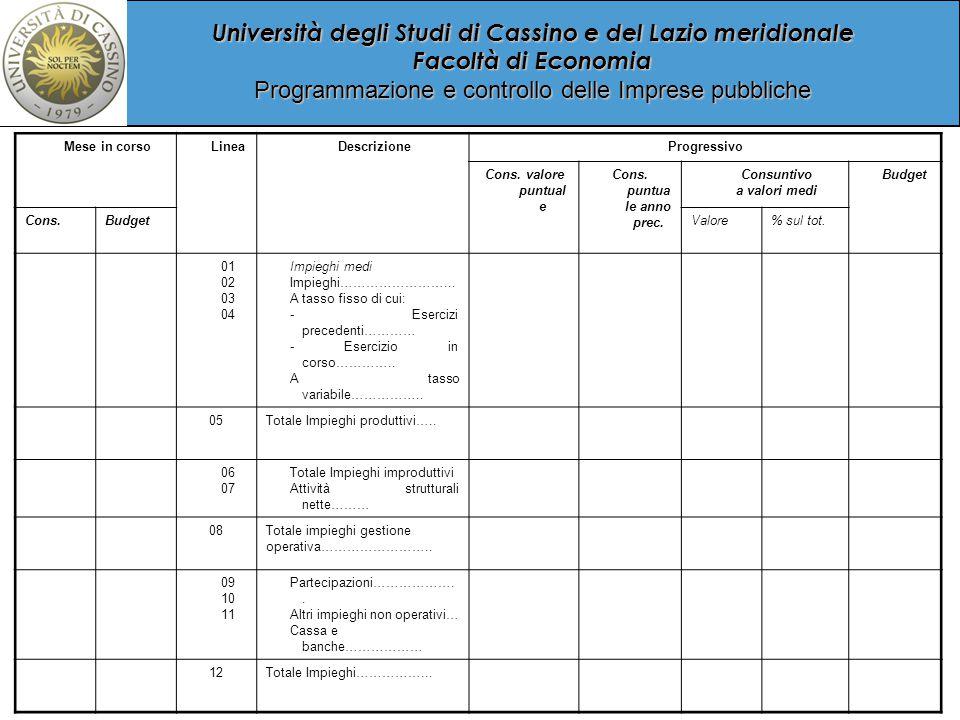Università degli Studi di Cassino e del Lazio meridionale Facoltà di Economia Programmazione e controllo delle Imprese pubbliche Mese in corsoLineaDescrizioneProgressivo Cons.