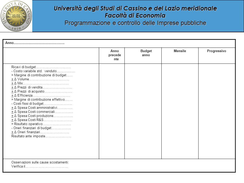 Università degli Studi di Cassino e del Lazio meridionale Facoltà di Economia Programmazione e controllo delle Imprese pubbliche Anno……………………………………….